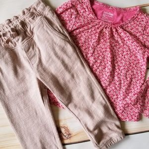 Gap Fall/Winter Floral Top & Cotton Joggers Outfit